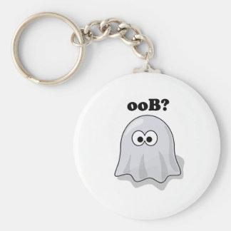 Funny Halloween Ghost Says Boo Backwards Keychain