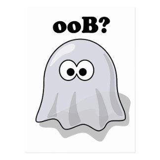Funny Halloween Ghost Says Boo Backwards Postcard
