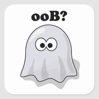 Funny Halloween Ghost Says Boo Backwards Square Sticker