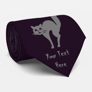 funny halloween gray cat with arched back fun neck tie