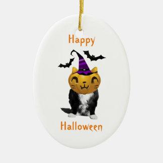 Funny Halloween Grumpy Cat Oval Ornaments