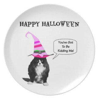 Funny Halloween Grumpy Cat Plate