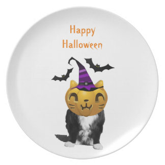 Funny Halloween Grumpy Cat Plates