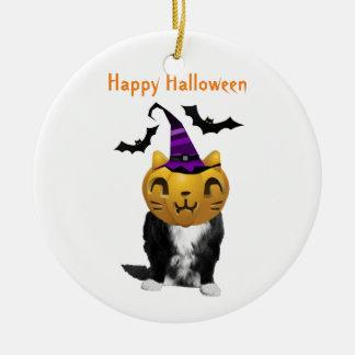 Funny Halloween Grumpy Cat Round Ornament