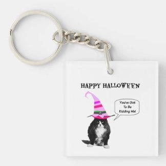 Funny Halloween Grumpy Cat Square KeyChain