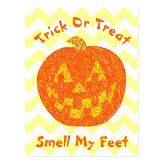 Funny Halloween Jack O Lantern Pumpkin Chevron Postcard