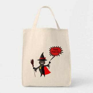 Funny Halloween Kitten Grocery Tote Bag