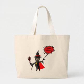 Funny Halloween Kitten Jumbo Tote Bag