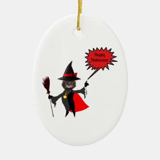 Funny Halloween Kitten Oval Ornaments
