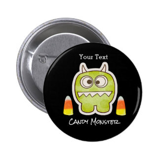 Funny Halloween Monster, Candy Corn Trick or Treat Pinback Button