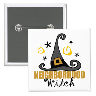 Funny Halloween Neighborhood Witch Button