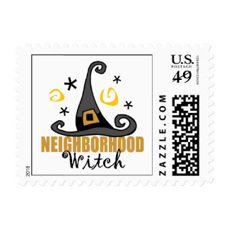 Funny Halloween Neighborhood Witch Stamp