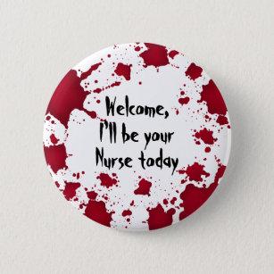 Funny Halloween Nurse Pinback Button