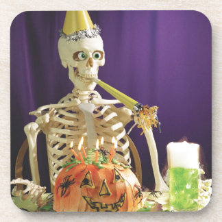 Funny Halloween party skeleton square coasters