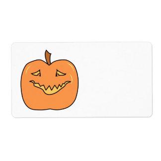 Funny Halloween Pumpkin Cartoon Label