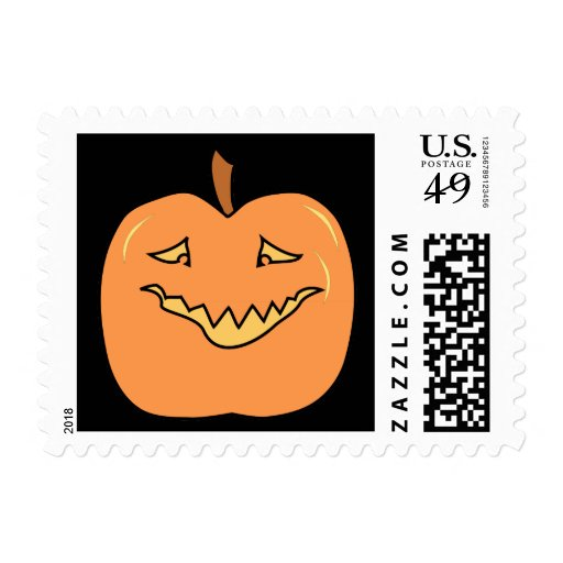 Funny Halloween Pumpkin Cartoon Stamps