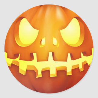 Funny Halloween Pumpkin Glowing Jack o lantern Classic Round Sticker