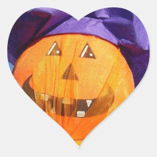 Funny Halloween Pumpkin Ornament Heart Sticker