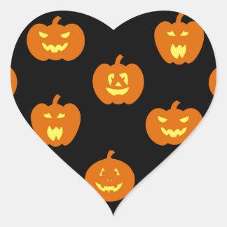 Funny Halloween Pumpkin Pattern Heart Sticker