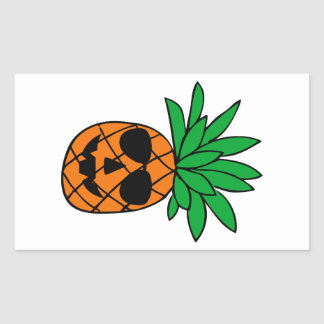 Funny Halloween Pumpkin Pineapple Character Rectangular Sticker