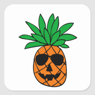 Funny Halloween Pumpkin Pineapple Character Square Sticker