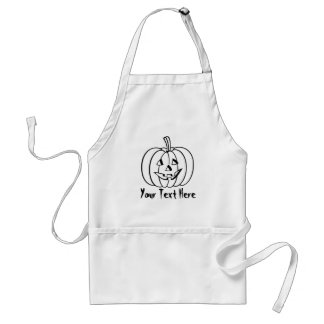 Funny Halloween pumpkin with cut out face Adult Apron