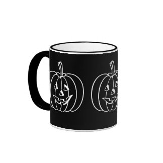 Funny Halloween pumpkin with cut out face Ringer Coffee Mug
