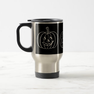 Funny Halloween pumpkin with cut out face 15 Oz Stainless Steel Travel Mug