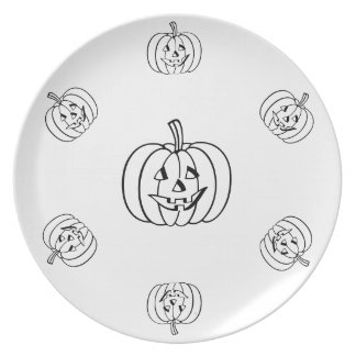 Funny Halloween pumpkin with cut out face Dinner Plate
