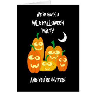 Funny Halloween Pumpkins Party Invitation Template Card