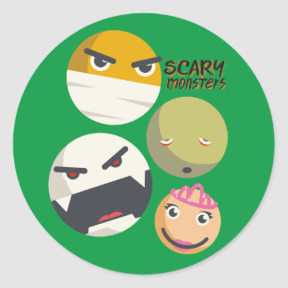 Funny Halloween scary monster smilies princess Classic Round Sticker