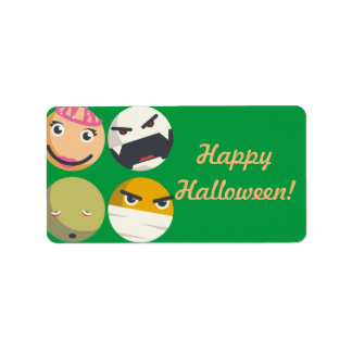 Funny Halloween scary monster smilies princess Label