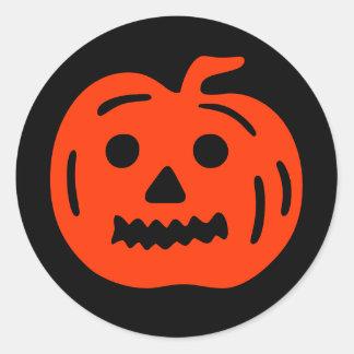 Funny Halloween Scary Pumpkin Holiday Black Orange Classic Round Sticker