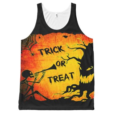 Halloween Themed Funny Halloween Skeleton Tree Trick or Treat All-Over-Print Tank Top