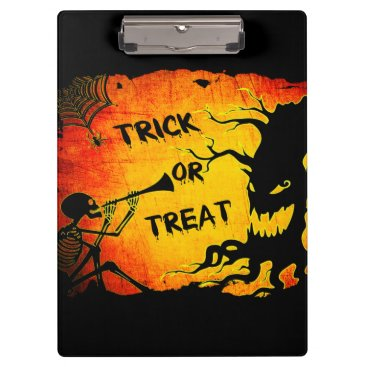 Halloween Themed Funny Halloween Skeleton Tree Trick or Treat Clipboard
