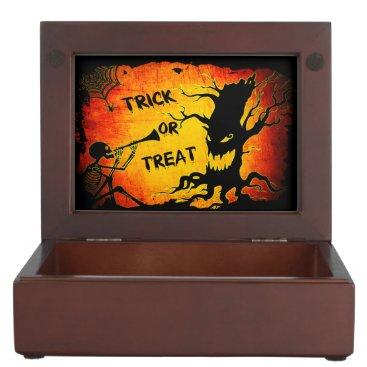 Halloween Themed Funny Halloween Skeleton Tree Trick or Treat Keepsake Box