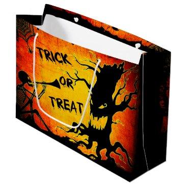 Halloween Themed Funny Halloween Skeleton Tree Trick or Treat Large Gift Bag