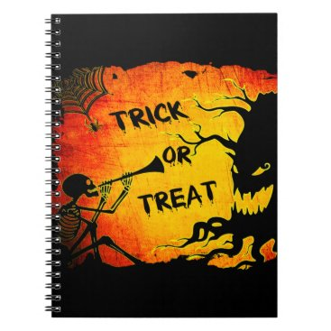 Halloween Themed Funny Halloween Skeleton Tree Trick or Treat Notebook