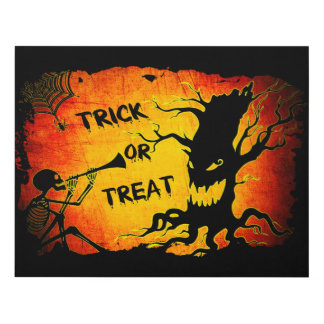 Funny Halloween Skeleton Tree Trick or Treat Panel Wall Art