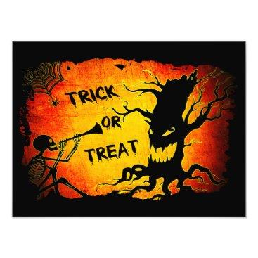 Halloween Themed Funny Halloween Skeleton Tree Trick or Treat Photo Print