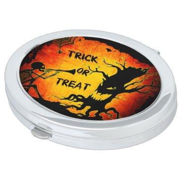 Halloween Themed Funny Halloween Skeleton Tree Trick or Treat Vanity Mirror