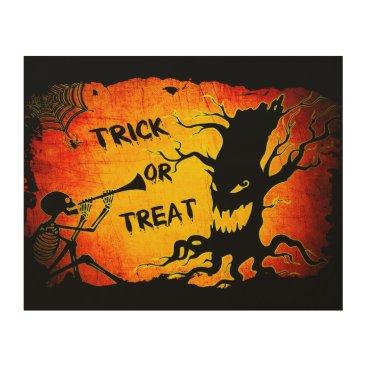Halloween Themed Funny Halloween Skeleton Tree Trick or Treat Wood Wall Art