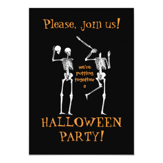 Funny Halloween Skeletons - Please Join Us Card