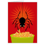 Funny Halloween Spider Stealing Candy Corn Greeting Card