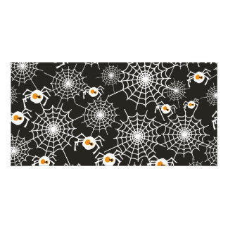 Funny Halloween Spiders and Webs Pattern Card