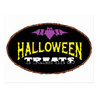 funny halloween treats postcard