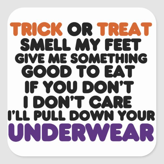 Funny Halloween Trick or Treat Poem Square Sticker