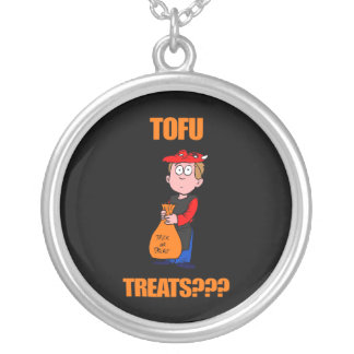 Funny Halloween Trick or Treat Round Pendant Necklace