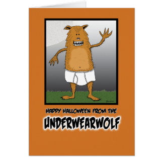 Funny Halloween: Underwearwolf Card