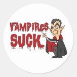 Funny Halloween Vampires Suck Classic Round Sticker